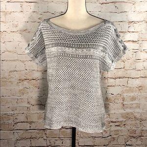 Lucky Brand Braided Sleeve Knit Sweater T-Shirt